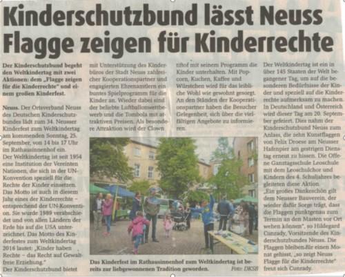 Stadtkurier 21.09.2016 Kinderfest und Flagge zeigen für die Kinderrechte